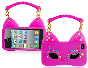 Fox Mask & Handbag Shaped Silicone Protective Case for iPhone 4S/4 (Rose Red)