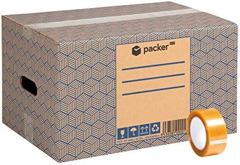 Pack 20 Cajas Carton para Mudanzas y Almacenaje 430x300x250mm Ultra Resistentes con Asas + Cinta Adhesiva, 100% ECO Box   Packer PRO: Amazon.es: Oficina y papelería