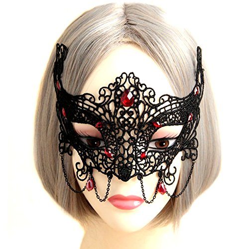 Realistic Jeepers Creepers Costume For Sale (QTMY Sexy Black Lace Crystal Mask for Halloween Party Costume)