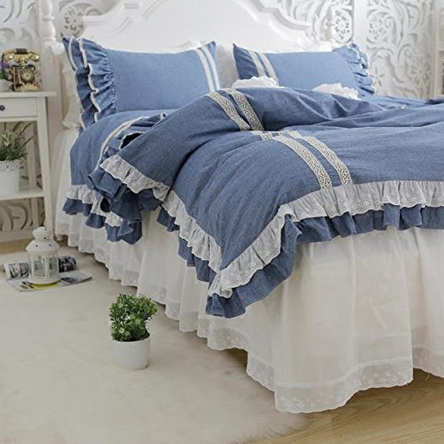 Abreeze Girls Bedding Set Lace Ruffle Duvet Cover Princess Bedding Set Twin, Teal by Abreeze