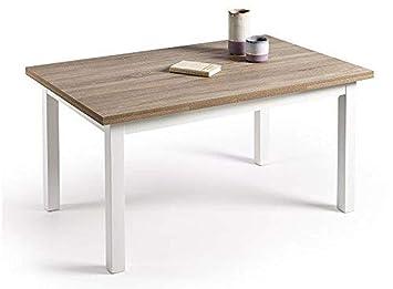 HOGAR24 ES Mesa Multiusos Comedor Cocina Dimensiones 120 cm x 80 cm  Extensible Libro a 190 cm x 80 cm Color Roble Cambrian y Blanco