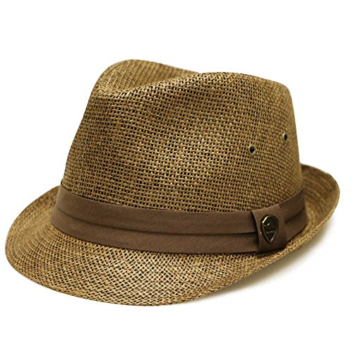 City Hunter Pms500 Solid Paper Toyo Trilby Straw Fedora Hats Brown L/XL