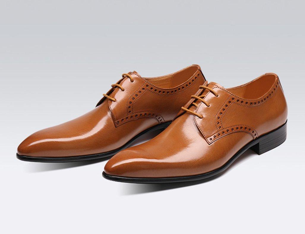 Herren Lederschuhe Herren Lederschuhe Formelle Formelle Lederschuhe Kleidung Business British Style Lace Breathable zeigte einzelne Schuhe Herrenschuhe (Farbe   Gelb-braun, größe   EU40 UK6.5) 966936