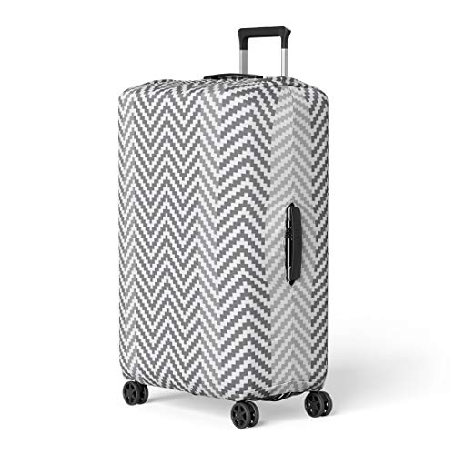 - Pinbeam Luggage Cover Gray and White Pixel Digital Zig Zag Op Travel Suitcase Cover Protector Baggage Case Fits 18-22 inches