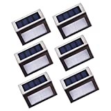 Maxmer Solar Step Lights LED Wireless Stainless Steel Step Light Waterproof Outdoor Solar Stairs Lights Security Lights Garden Pathway Floor Wall Patio Lamp with Auto On/Off, 6 Pack
