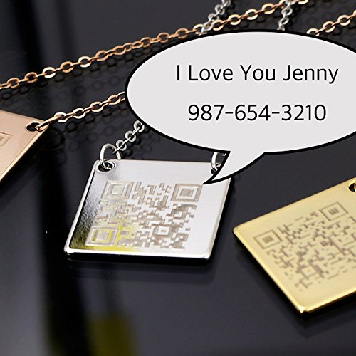 QR Secret Message Necklace Engraving QR CODE Plate Personalized square 16k Gold (Silver Rose Gold) Plated Delicate Initial charms (Homemade Pilgrim Costumes)