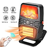 JINGOU Space Heater Portable 1000W Electric Small Fireplace Heater with Remote Control, Built-in Timer, Tip-Over & Overheat Protection Plug In Ceramic Heater for Office Home Bedroom