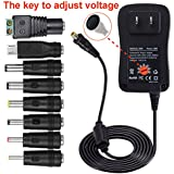 Upgraded 30W Universal Multi Voltage AC/DC Adapter Switching Power Supply with 8 Selectable Tips with Micro USB Plug and LED Terminal Connector for 3V to 12V Household Electronics