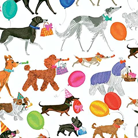 Entertaining with Caspari 8987RSC Continuous Gift Wrapping Paper Roll, Winston and Friends - Golden Retriever Wrapping Paper