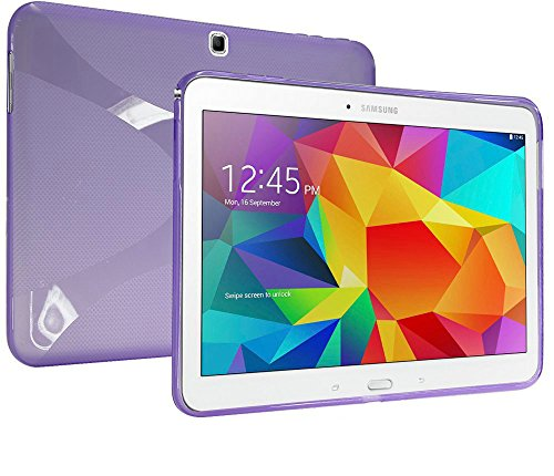 MAKEIT™ X Design Slim TPU Gel Rubber Soft Skin Case Cover for Samsung Galaxy Tab 4 10.1 inch T530 (Purple)