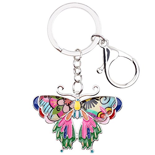 Enamel Metal Butterfly Key chains For Women Girls Gifts Car Purse bag Rings Pendant Charms - Enamel Ring Key