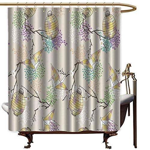 shower curtains for bathroom sets with valance Lantern Decor Collection,Colorful Origami Cranes Paper Lanterns with Branches and Flowers Culture,Lilac Pink Beige Yellow,W36