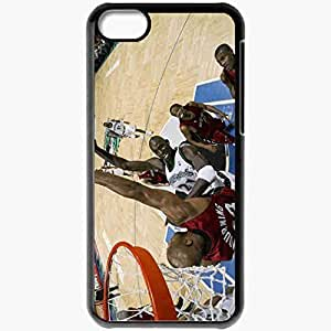 Personalized iPhone 5C Cell phone Case/Cover Skin Sport Basketball Game Opposition Nba Black