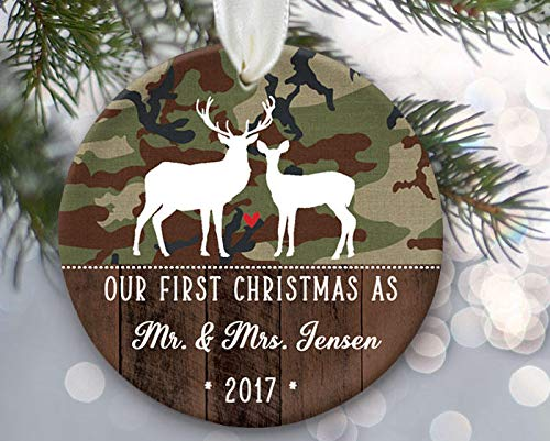 Our First Christmas As Mr Mrs Camo Ornament Deer Ornament First Christmas Married Personalized Christmas Ornament Hunter Gift -