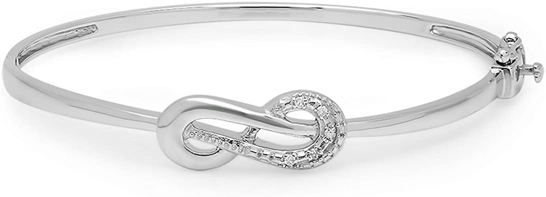 Black Gold Sterling Silver White Sapphire Infinity Cable Cuff Bangle Bracelet
