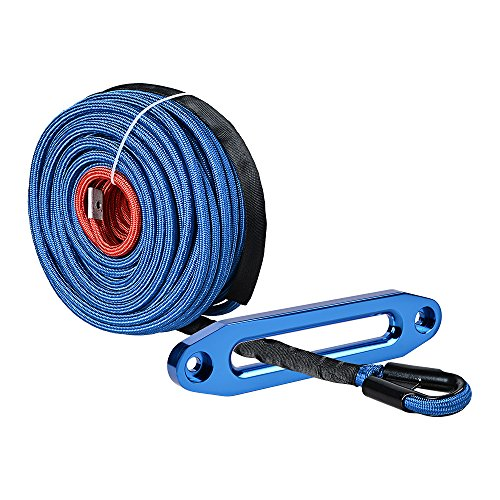 - Astra Depot Blue 95ft x 3/8 inch Synthetic Winch Line Cable Rope 22000LBs w/Heat and Rock Guard + Anodized Blue 10