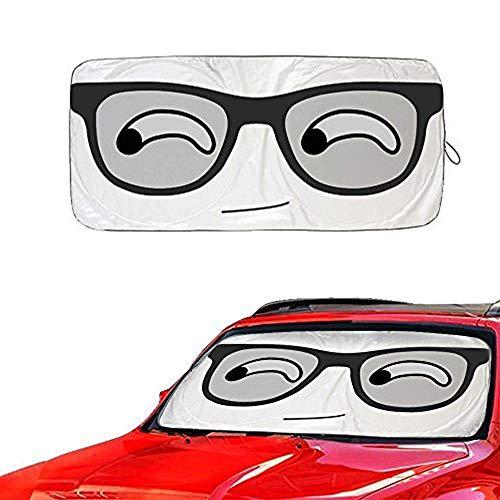 "Metacrafter Car Windshield Sunshade Cute Eye Design, Folding Front Car Window Sun Shade Blocks UV Rays Sun Visor Protector Pop up Style Fit Vans,SUVs Trucks Automotive Shade (59""x33"") (Eye Pattern"
