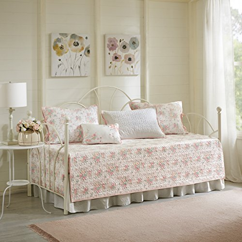 Madison Park Serendipity Daybed Size Quilt Bedding Set - Coral, Floral – 6 Piece Bedding Quilt Coverlets – 100% Cotton Bed Quilts Quilted Coverlet
