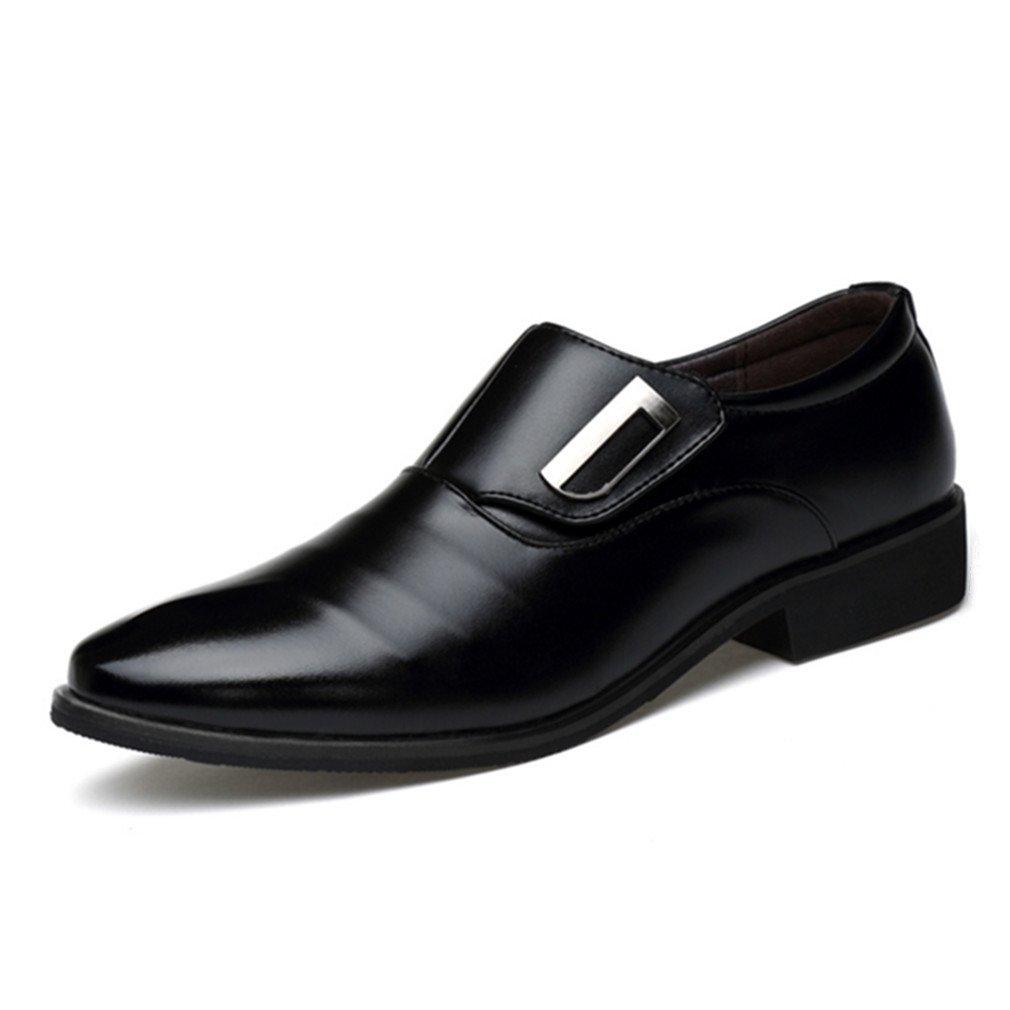 Seakee Men's Business Slip-on Dress Shoes Semi-Formal Oxford(Black) US 12.5