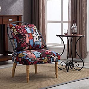 Lansen Furniture Pattern Prints Velvet Fabric Contemporary Accent armless Chair Club with Solid Wood Legs