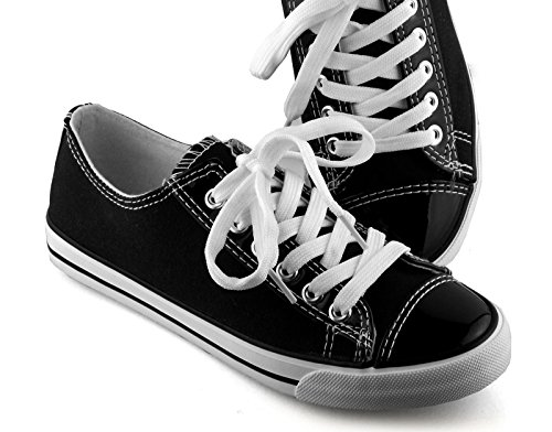 Damen Sneaker mit Lack, Farbe:Schwarz, Größe:37