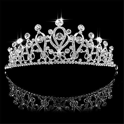 Electrost 花嫁の王冠の水ドリル装飾結婚式のヘアアクセサリー合金結婚式の宝石類 (色 : Silver)