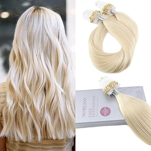 Moresoo 20 Inch Human Hair Extensions Micro Loop Hair Extensions Color #60 50g Per Pack Micro Ring Loop Remy Human Hair Extensions Platinum Blonde Hair Extensions 50 Strands