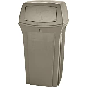 Rubbermaid Commercial Ranger Trash Can, 35 Gallon, Beige, FG843088BEIG