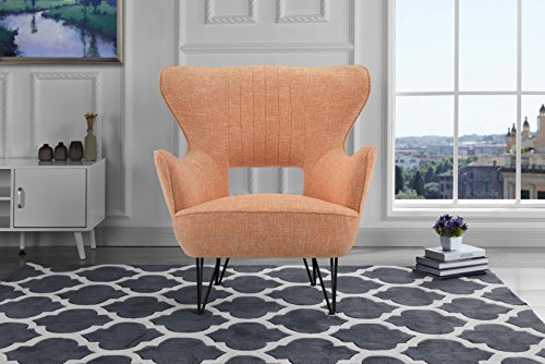 Mid-Century Modern Linen Fabric Accent Armchair with Shelter Style Living Room Chair (Orange)