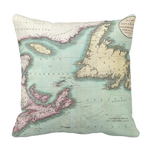 Throw Pillow Covers: Nova Scotia And Newfoundland Map 18 X 18 inch.