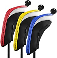 Andux Golf Hybrid Club Headcovers Interchangeable Number Tags Pack of 3 MT/HY09 (Red,Yellow, Blue)
