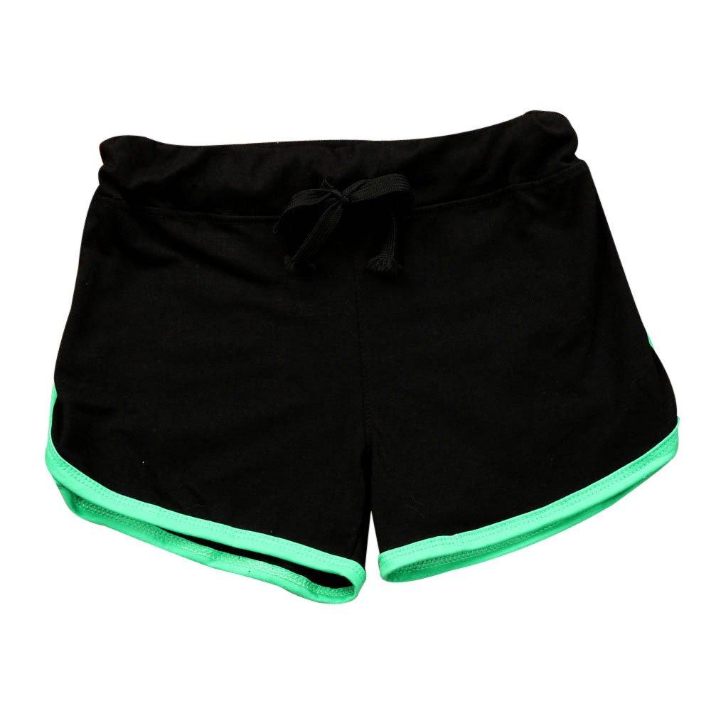 TRENDINAO Summer Short Pants Women, Sport Shorts Gym Workout Waistband Skinny Yoga Elastic Shorts Black