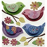 Jolee's Boutique Dimensional Embellishment, Stitched Colorful Birds
