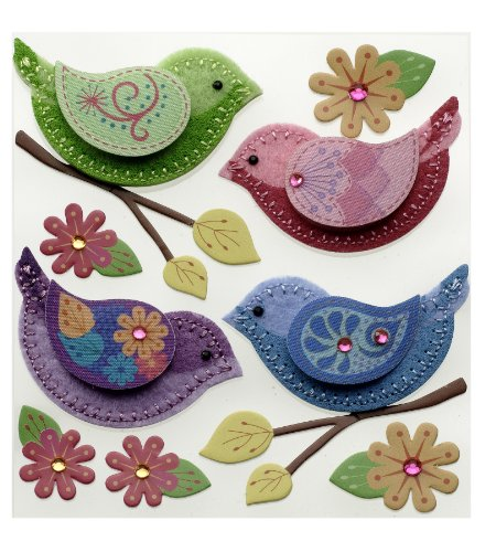 Felt Bird - Jolee's Boutique 50-21368 Sticker 3D Stitched Birds, Multicolor