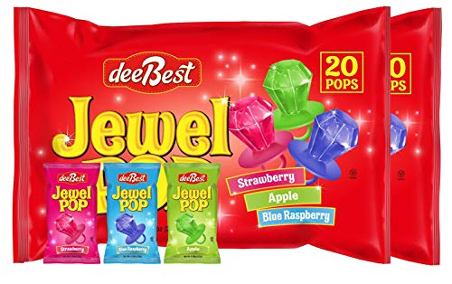 Jewel Pop Ring Shaped Hard Candy 40 Count | Variety Bulk Pack | (20 Individuals Per Bag, Pack of 2) from Dee Best