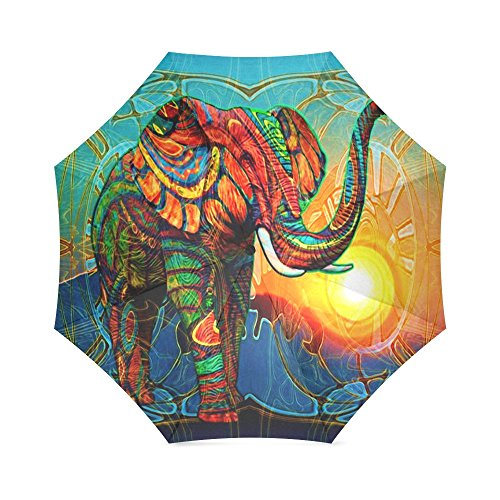 (Colorful India Elephant Folding Windproof outdoor Travel Umbrella for Women)