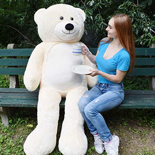Wolves Ivory - WOWMAX 6 Foot Giant Huge Life Size Teddy Bear Danny Cuddly Stuffed Plush Animals Teddy Bear Toy Doll for Birthday Christmas Ivory 72 Inches