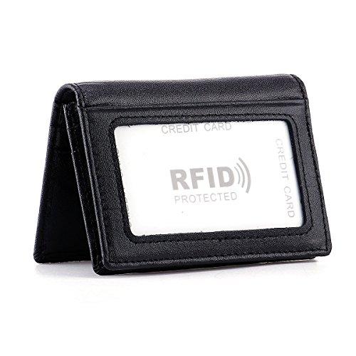 HAWEE Men's Bifold Front Pocket Wallet Genuine Leather RFID Blocking Card Billfold 5 Slots with Cash Clip, Black
