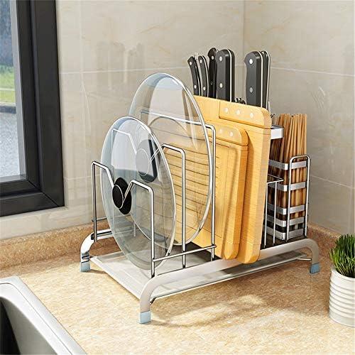 パン蓋ホルダー 304ステンレス鋼の多機能キッチンは、箸ホルダーまな板ホルダーラック (色 : Silver, Size : 33.5×21×24.5cm)