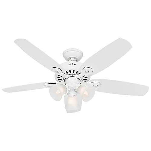 Hunter Indoor Ceiling Fan, with pull chain control – Builder 42 inch, White, 52105