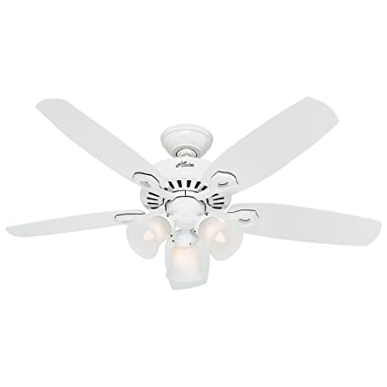 Hunter 52105 builder small room 42 inch snow white ceiling fan with hunter 52105 builder small room 42 inch snow white ceiling fan with five snow white mozeypictures Choice Image