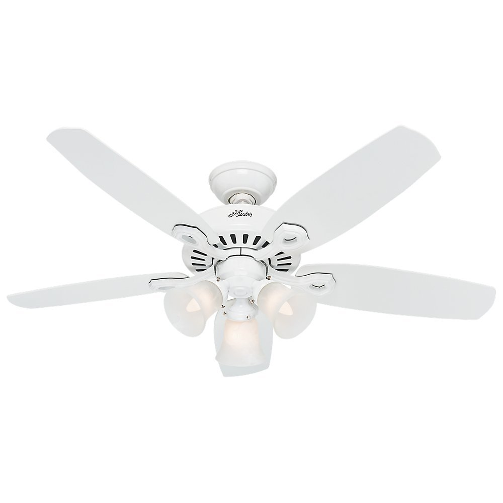 Hunter 52105 Builder Small Room 42-Inch Snow White Ceiling Fan with Five Snow White Blades and a Light Kit