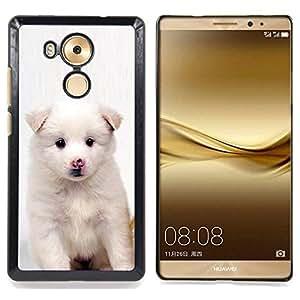 """Qstar Arte & diseño plástico duro Fundas Cover Cubre Hard Case Cover para HUAWEI Ascend MATE 8 (Perrito blanco del rosa de la nariz de perro Negro Ojos"""")"""