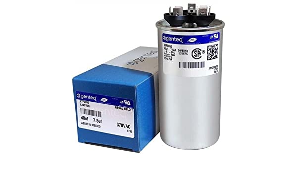 7.5 uF MFD x 370 VAC Genteq Replacement Dual Capacitor Round # C37075R 27L556 Carrier P291-7073RS 70
