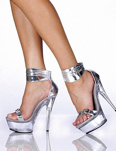 ® plataforma stiletto us11 Scarpe eu43 patentado sandalias tacones n uk9 di 5 tacones cn45 mujer EU44 cuero ¨ argento aperta tac ZQ boda noche Punta Casual e 5 nero Feste dwqx0PSXP