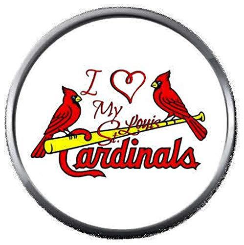 (I Love My St Louis Cardinals MLB Baseball Logo 18MM - 20MM Snap Jewelry Charm)