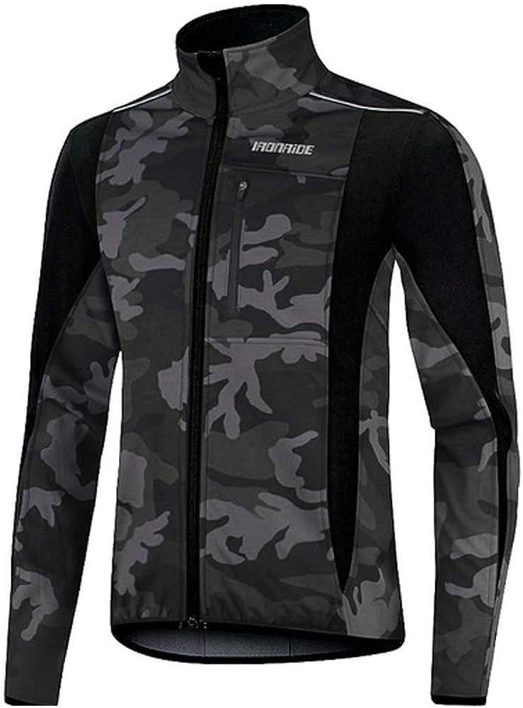 Windproof Breathable Fleece Bike Jerseys Men/'s Winter Thermal Cycling Jackets Bicycle Softshell Shirt Long Sleeves Coat