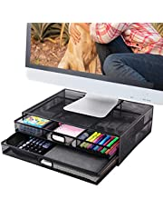 $22 » Monitor Stand Riser with Drawer- Metal Mesh Desk Organizer with Dual Pull Out Storage Drawer for Computer, PC, iMac, Laptop and Printer Accessories and Office Supplies (Black)