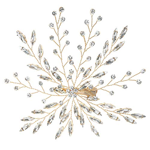 - HDE Bridal Hair Clip Accessories Vintage Silver Wedding Hair Piece Flower Leaves Pave Brooch