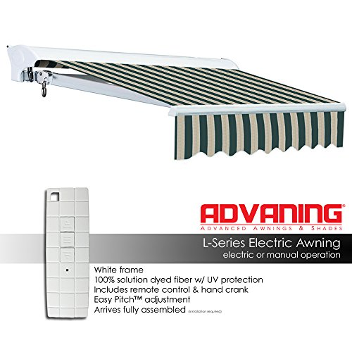 ADVANING Electric Luxury L Series, 12'x10', Semi-Cassette Top Quality Window/Door Cloth Cover Canopy Sun Shade Retractable Patio Awning, Garden Green with Sand Beige Stripes, Model: EA1210-A808H2 by ADVANING (Image #2)